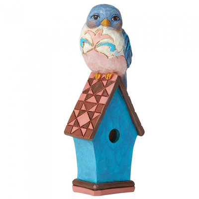 Jim Shore beeldje Bluebird on Birdhouse