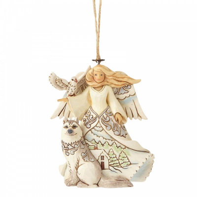 White woodland angel with husky