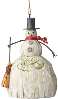 Jim Shore Folklore Snowman with Broom hanging ornament