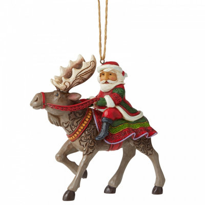 Jim Shore Santa Riding Moose (Hanging Ornament)