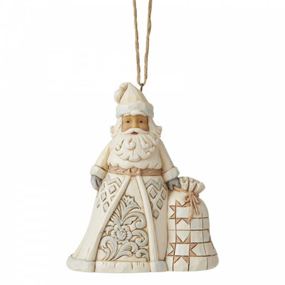 Jim Shore White Woodland Santa (Hanging Ornament)