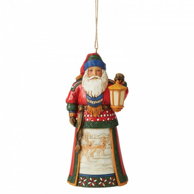 Jim Shore Lapland Santa with Lantern (Hanging Ornament)