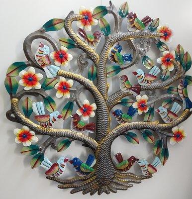 Levensboom met 14 vogels, gekleurd, 40 cm.