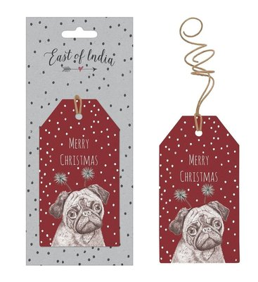East of India label Pug 'Merry Christmas'