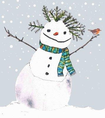 Aardappelkaart Sneeuwpop en Roodborstje