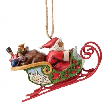 Santa In Sleigh (Hanging ornament)