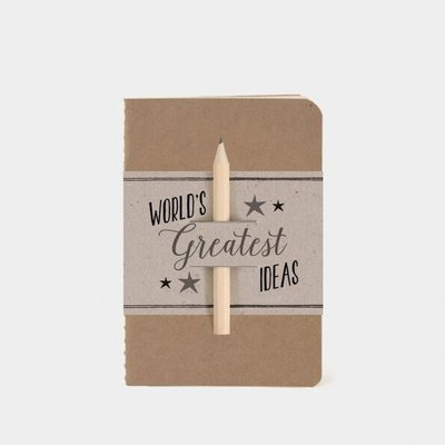 Schriftje 'Worlds greatest ideas'