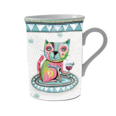 Beker in cadeaudoos Kat met glas en vlinder