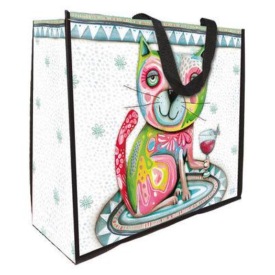 Shopper Kat met glas en vlinder