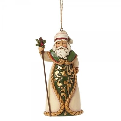 Green and Ivory Santa (Hanging ornament)