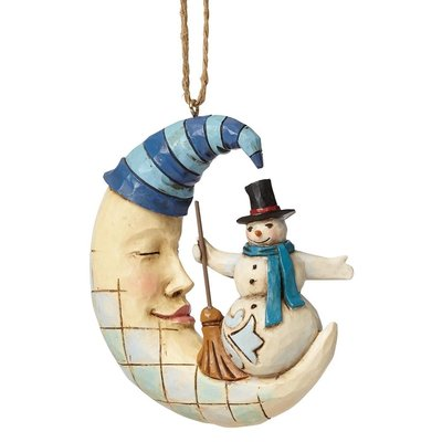 Crescent Moon Snowman (Hanging ornament)