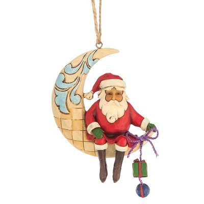 Crescent Moon Santa (Hanging ornament)