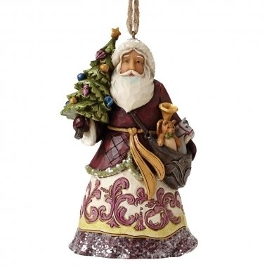 Victorian Santa With Tree (hanging ornament)