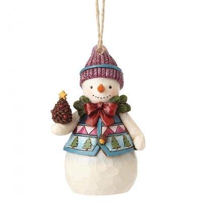 Mini-sneeuwman met dennenappel (Hanging ornament)