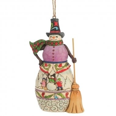 Winter Scene Snowman (hanging ornament)