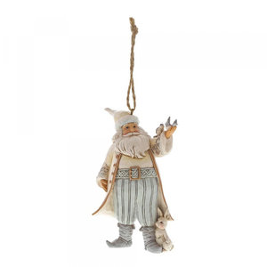White Woodland Santa with Birds (hanging ornament)