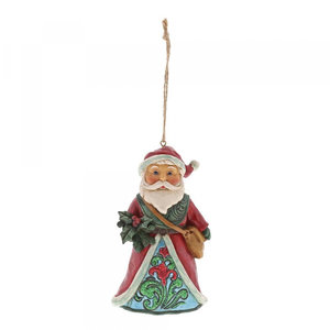 Winter Woodland Santa holding holly(hanging ornament)