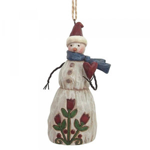 Snowman with heart (hanging ornament)