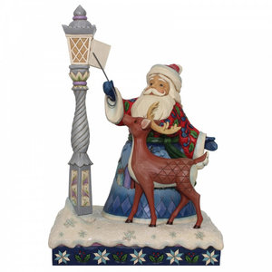Santa by Lighted Lamppost